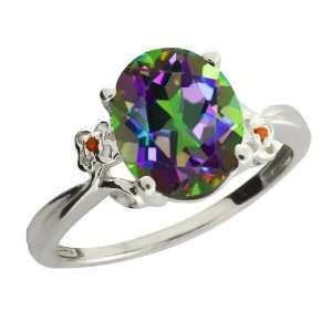 Ct Oval Green Mystic Quartz and Cognac Red Diamond 14k White Gold Ring