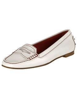Tods Womens White Leather Penny Loafers