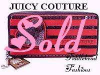 Juicy Couture Wallet Zip Around Clutch Gray Velour Black SEQUIN STRIPE