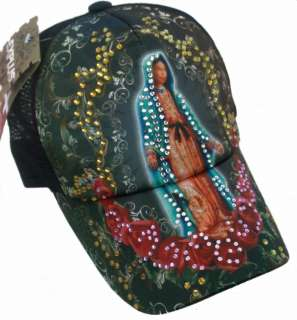 TATTOO Guadalupe Rhinestone Trucker Mesh Fashion Ball Hat Cap 2