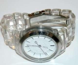 DKNY Silver Tone Clear Plastic Resin Bracelet White Dial Womens Watch