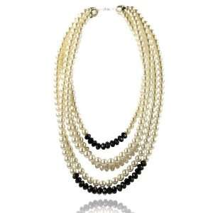 Wedding Bridal Cream Pearl Jet Crystal Necklace Fashion Jewelry