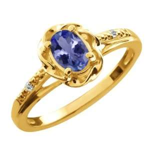 0.47 Ct Oval Blue Tanzanite White Sapphire 18K Yellow Gold