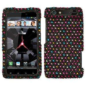 RAZR Crystal Diamond BLING Hard Case Phone Snap on Cover Rainbow Dots