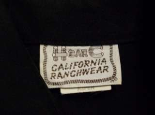 BAR C CALIFORNIA RANCHWEAR WOMENS SIZE 38 BLACK SHIRT BLOUSE