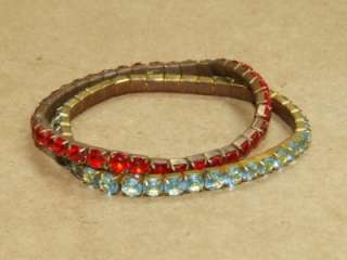 Prong Set Red & Aqua Rhinestone Expansion Bracelet Set *