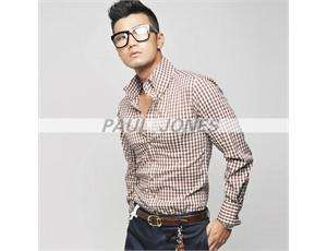 Premium Handsome Mens Casual Checked Dress Shirts Smart XS/S/M Blue