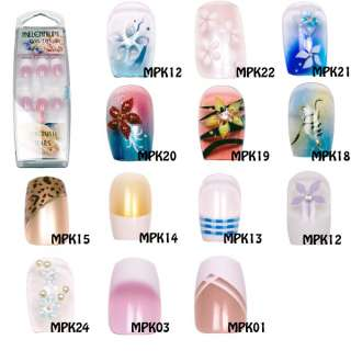 Millenium Nail Art Stick Glue On Nail Tips   13 designs to choose from