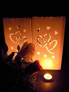 20 Heart Wedding Candle White Paper Bag Lantern Outdoor