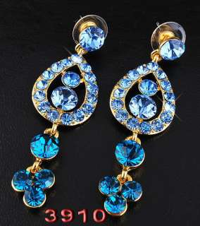 Free E32369 blue peacock Necklace Earring 1set rhinestone crystal gold