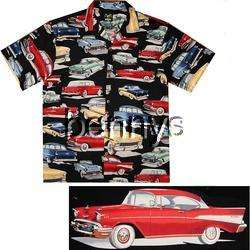 Chevy Bel Air 55 56 57 hawaiian shirt, black, L