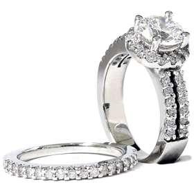 DIAMOND WEDDING ENGAGEMENT RING SET PAVE HALO WHITE GOLD 14K