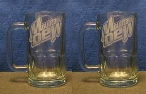 SET OF 2 ETCHED DRINKING CLEAR MUGS, MOUNTAIN DEW LOGOS