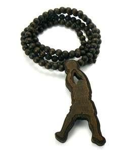 Good Wood Basketball Player Jump Man Pendant Ball Chain Necklace Brown