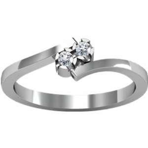 18K White Gold Promise Diamond Ring   0.06 Ct. Jewelry