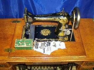 SINGER 27 SPHINX SEWING MACHINE IN TREADLE JULY 21 1908 LONG SHUTTLE