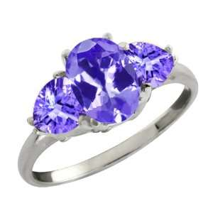 Ct Genuine Oval Blue Tanzanite Gemstone 10k White Gold Ring Jewelry