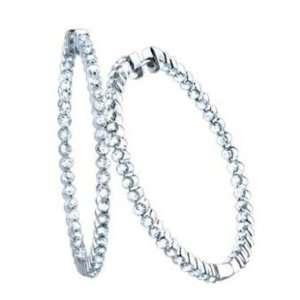 2.30CT Diamond Hoops Earrings set in 6.9GR of 14K White