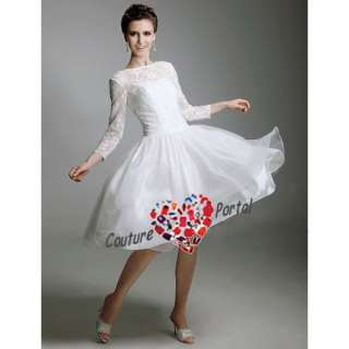 line Long Sleeve Scoop Tea length Wedding Dress