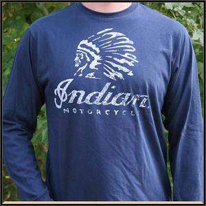 Indian Motorcycle Warrior Long Sleeve T Shirt   Blue   2862302