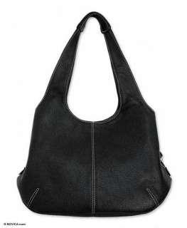 URBAN LEGEND Tooled BLACK Leather Shoulder Bag Purse NR
