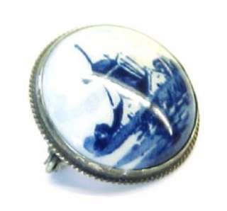 HOLLAND ~ Vintage Hand Painted Porcelain Sterling Brooch ~ 1