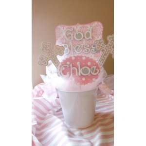 Baptism Centerpiece Pink  Holy Baptism: Baby