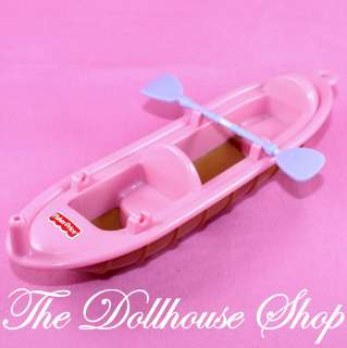 Fisher Price Loving Family Dollhouse Pink DOll Canoe Kayak Boat 1
