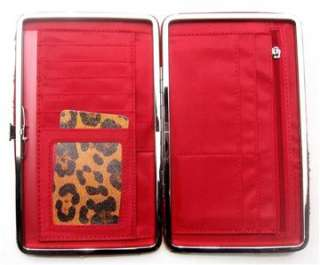 Leopard Animal Print Clutch Case Wallet With Red Trim