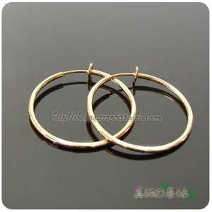 11~60mm spring Clip on hoops earrings Gold/SV wo mens