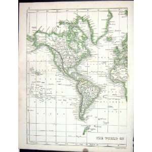 Antique Map 1853 North South America Canada Hudson Bay: Home & Kitchen