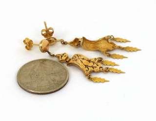 ANTIQUE VICTORIAN 14K GOLD & ENAMEL DANGLE EARRINGS