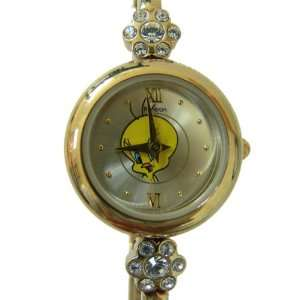 Looney Tunes Gold Analog Bracelet Tweety Bird Watch   Ladies Tweety