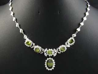 White Gold Plated Faux Green Peridot Necklace Earring Jewellery Gift