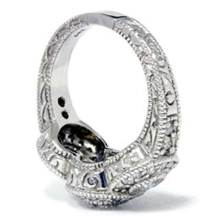 Antique 1.50CT Diamond 3 Stone Engagement 14K White Gold Ring