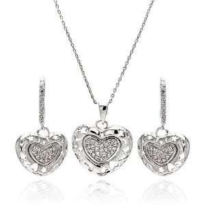 Heart With Cubic Zirconia Rhodium Plated Brass Set Pendant Measurement