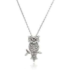 Necklaces Owl Cubic Zirconia Sterling Silver Necklace Owl Measurement