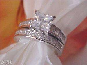 Sterling Silver 925 CZ Engagement Wedding Ring Set 5 9