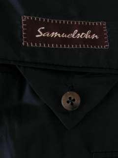 Samuelsohn Suit Full Canvas Wool Navy Blue Gray Pinstripe 41R 34W