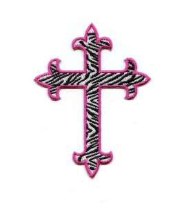 Iron On Patch Embroidered ZEBRA Fleur De Lis Cross 4