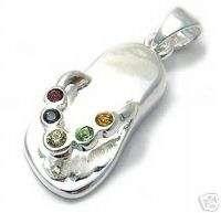 Sterling Silver Multi Color CZ Flip Flop Pendant A1719