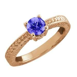 0.45 Ct Round Purple Amethyst 14k Rose Gold Ring Jewelry