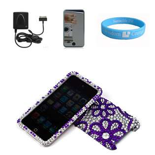 Two Piece Purple Flower Hearts Rhinestone Cover Case for Apple iPod