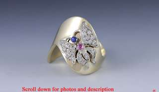 UNIQUE 14K YELLOW GOLD DIAMOND SAPPHIRE & RUBY BUTTERFLY RING