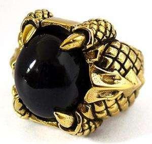 BLACK ONYX DRAGON CLAW GOLD BRASS BIKER MENS RING Sz 15