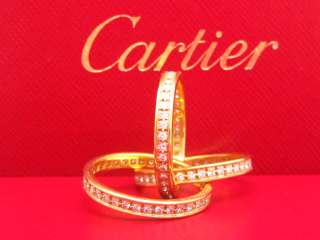 CARTIER 18K YELLOW GOLD DIAMOND ROLLING TRINITY RING 58 8 1/4