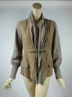 CUCINELLI RIVAMONTI Brown Suede + Knit Sweater Jacket XL Nwt $1275