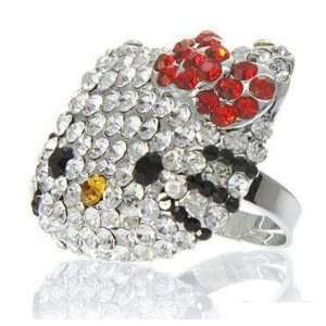 Crystal BLING ring w/Red bow w/Kitty Gift Box by Jersey Bling Jewelry