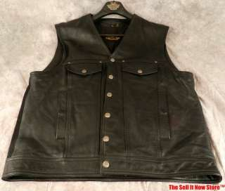 HARLEY DAVIDSON MOTORCYCLES CLOTHING MENS VEST SIZE XL BLACK LEATHER