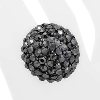 Crystal Pave Dome Round Stretch Ring Hematite Black